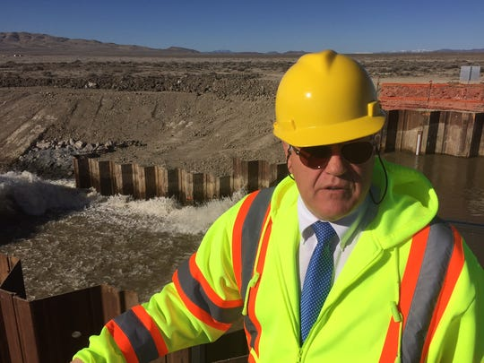 Truckee-Carson Irrigation District Manager and General Counsel Rusty Jardine on March 13, 2017 visits a new spillway designed to divert water from the V-Line canal near Fallon, Nev.