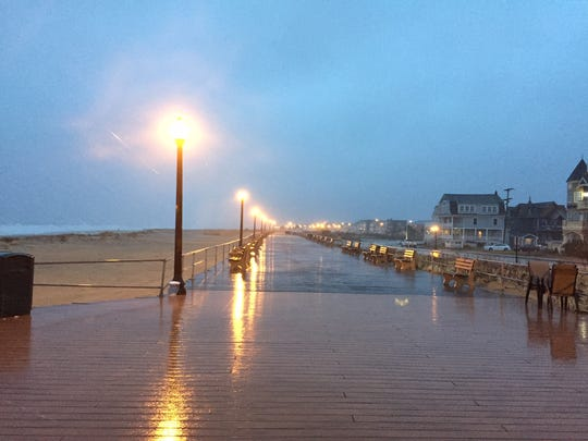 The boardwalk in Ocean Grove was deserted in March 2017 as a nor'easter pounded the Jersey Shore.