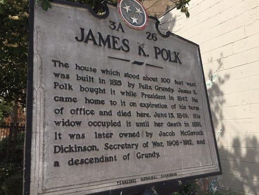 Polk's plaque near his Nashville home.