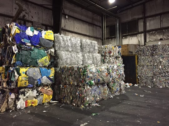 These recyclables are sorted, bundled and awaiting
