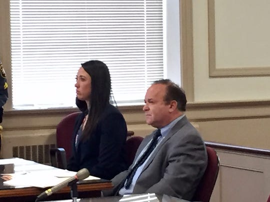 Jenna Leahey and defense attorney Alan Zegas in Superior Court, Morristown, on April 11, 2017.