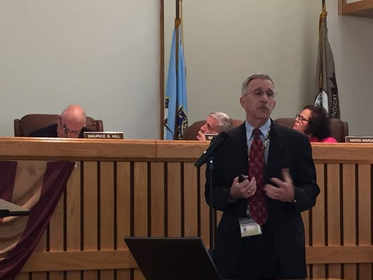 Toms River Administrator Paul J. Shives makes a presentation on the 2017 budget on April 18.