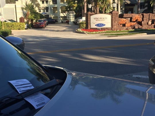 This car along Ocean Drive in Vero Beach was ticketed for sitting in a parking spot too long in an undated file image.