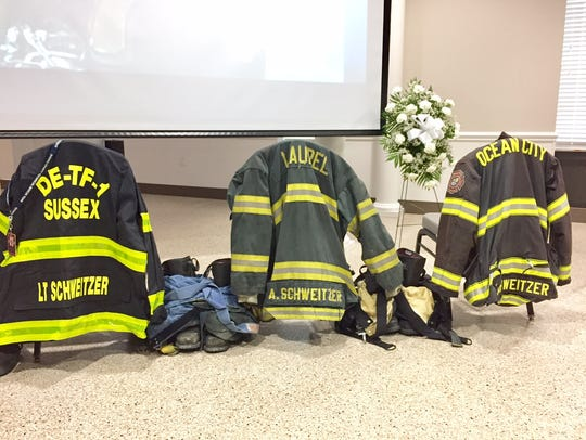 The fire coats of Alan Schweitzer are on display at