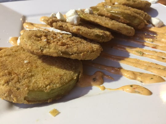 Fried Green Tomatoes with aioli sauce from Cafe Rev in Monticello.