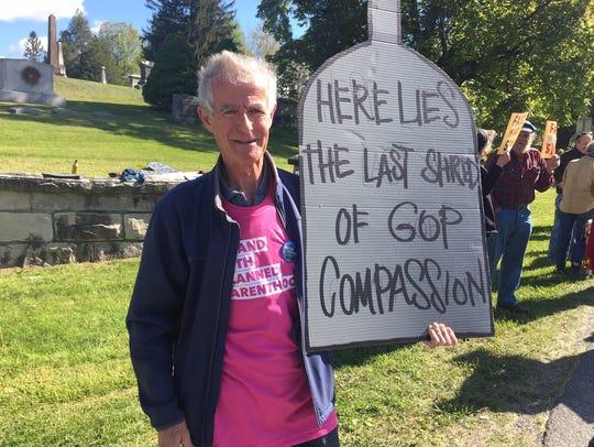 Gully Stanford protest a visit byRep. John Faso, R-Kinderhook,