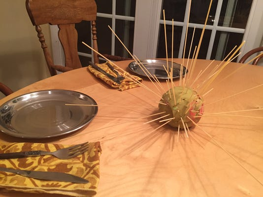 Play-Doh and spaghetti porcupine