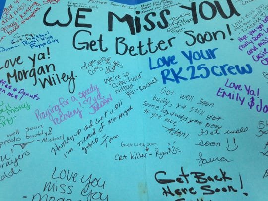 A get-well card to Greg Collett from employees at the Muncie Rural King.