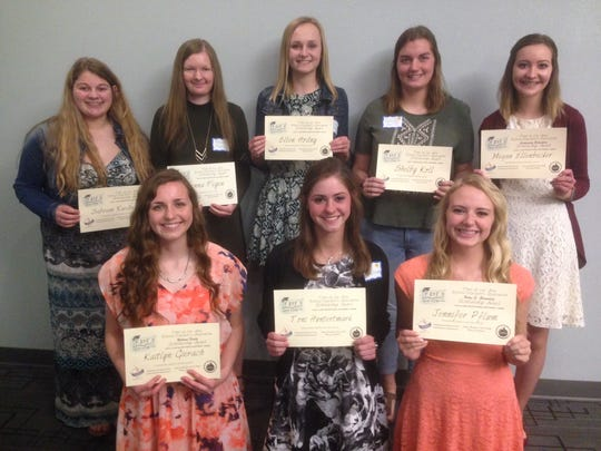 Pictured are winners of scholarships from the Fond du Lac Area Retired Educators' Association, back row, from left: Sabrina Ruedinger, Jenna Feyen, Ellen Hodny, Shelby Koll and Megan Ellenbecker; front row: Kaitlyn Gierrach, Toni Hundertmark and Jennifer Pflum;  not pictured: Brianna Gruenwald and Carter Kuslits.