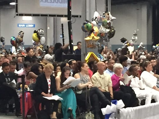 With balloons and flowers in hand, family and friends of the Middlesex County College Class of 2017 attended commencement exercises Tuesday.