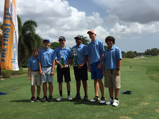 The Royal Palm Academy golf team -- Major Miller, Jimmy Miller, Tyler Stamerro, Toshan Misir, Liam Singer, Joseph Zumaeta -- won the Silver Division of The First Tee of Naples/Collier Middle School Championship on Saturday, May 20, 2017 at Quail Village Golf Club.