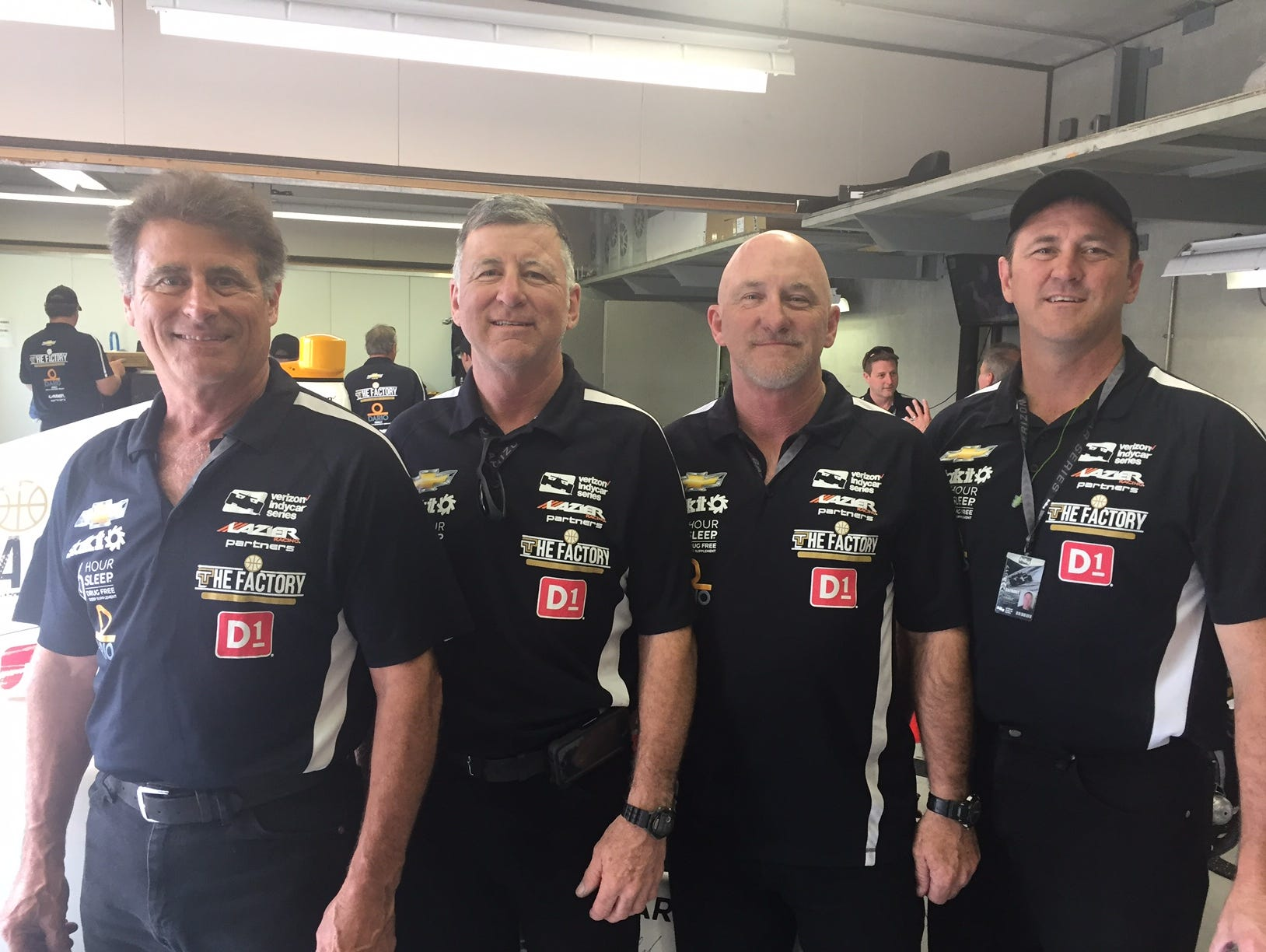 Most of Buddy Lazier's pit crew. The Caudle brothers from Irving, Texas. All firemen (left to right): Jim, 57; Bob, 55; Ken, 53; Craig, 46.