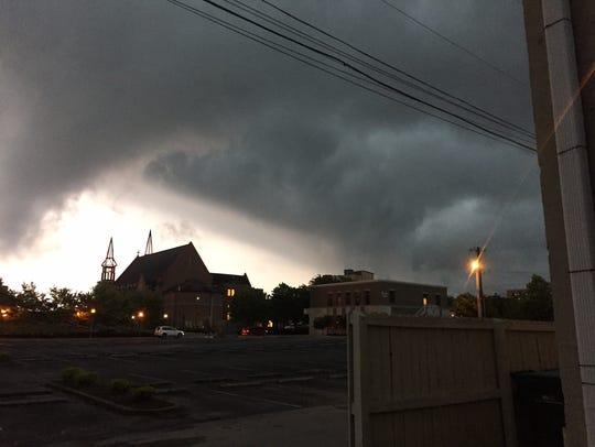 Storm clouds darken the sky over Clarksville as a severe
