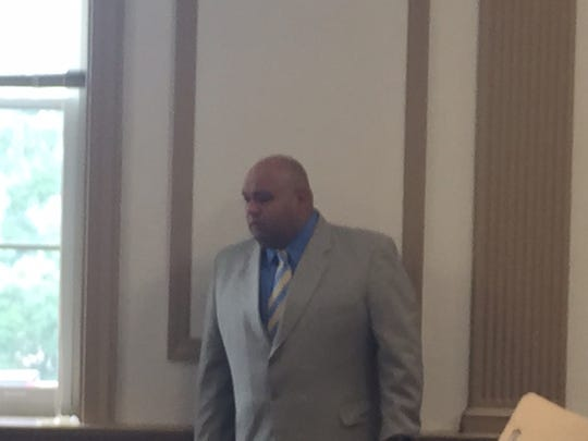 Suspended Rockaway Township Police Officer Wilfredo Guzman in Superior Court on June 5, 2017.