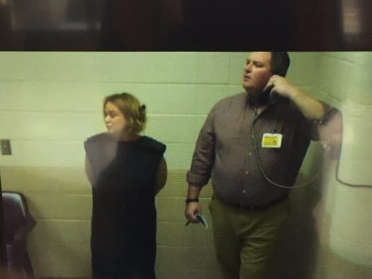 On left, vehicular homicide suspect Michelle Perez of Clifton appears with attorney Sean O'Connor for a brief hearing June 3, 2017 conducted over closed-circuit television.