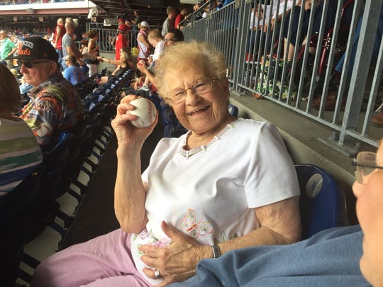 Ida Geltzer, 92, of Cherry Hill was treated to her first Philadelphia Phillies game by Cherry Hill Township bus driver Tom Bush. He even caught a foul ball and gave it to her.