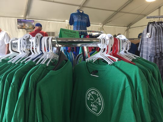 """T-shirts sporting an """"Arnie's Army"""" logo are for sale"""