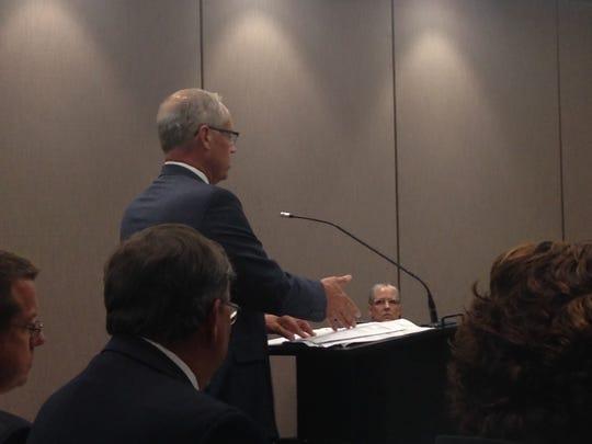 School corporation attorney William T. Hopkins Jr. addresses members of IEERB.