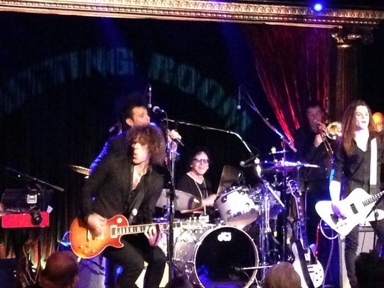 Peter Criss behind the drums at the Cutting Room in