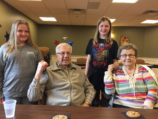 Gardens residents Jim and Anna Mae Marlborough met their pen pals Hannah (left) and Kaylie during a recent social at Felician Village.