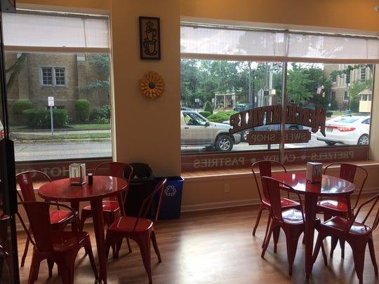 There is both soda fountain-style seating and cafe seating at the spacious Merchantville Sweet Shop.