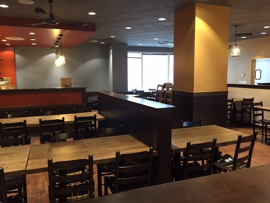 The Famous Toastery in Greenville has seating for about 150 inside, outside and in the lobby area.