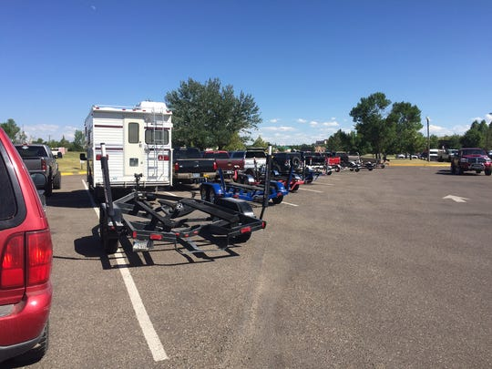 Boat trailers were lined up at Broadwater Bay in Great Falls Saturday. Several days of temperatures in the upper 90s and possibly the low 100s are forecast later in the week.