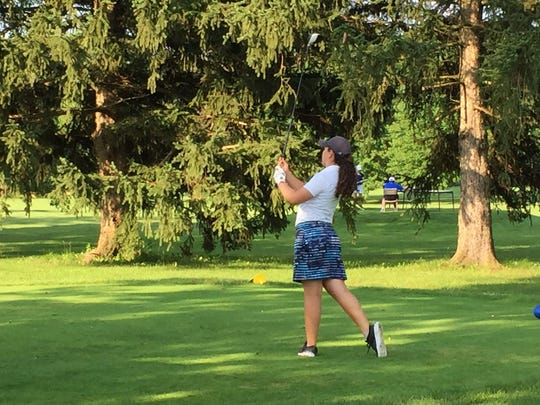 Mallory Graham of Mount Gilead tees off on the 10th hole at the Marion Country Club on Tuesday during the Ohio Junior Girls Championship. Graham shot a 138 over 27 holes to end in 62nd overall.