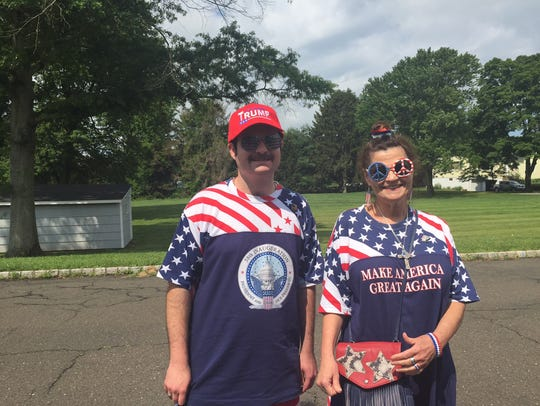 Trump supporters Donna Cancassi and her son, Douglas