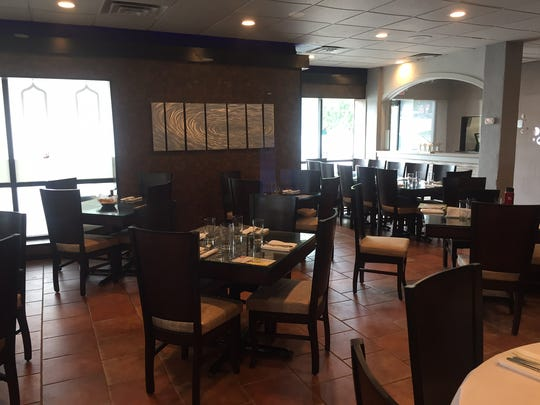 The main dining room of Monsoon Fine Indian Cuisine in Cherry Hill.