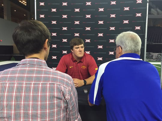 Reporters  interview Iowa State offensive tackle Jake