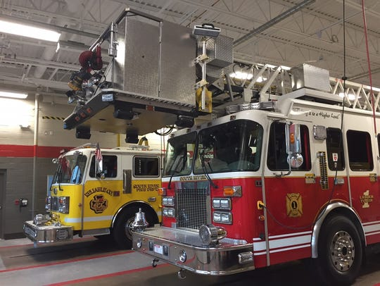South River Fire Department's trucks inside the new