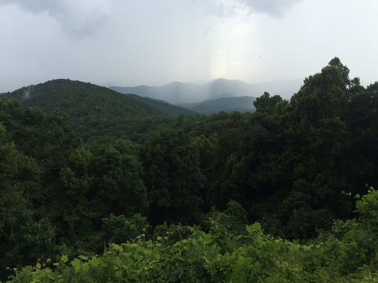 A view from the Blue Ridge Parkway at Beaver Dam Gap.
