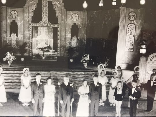 This photograph shows the wedding ceremony Aug. 26, 1932 in front of the Grandstand during the night show.