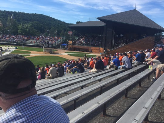 Our view of Doubleday Field during Rachel Robinson's speech on last Saturday afternoon in Cooperstown, New York.