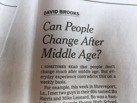 David Brooks column from The New York Times, Friday, August 4, 2017.