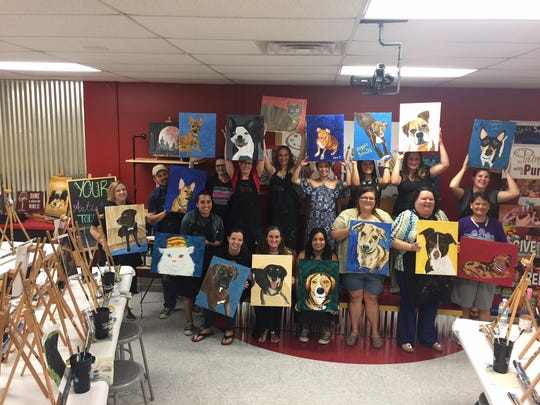 Painting with a Twist's monthly charity event, Painting With A Purpose, raised $780 for Cassie's Place Rescue.