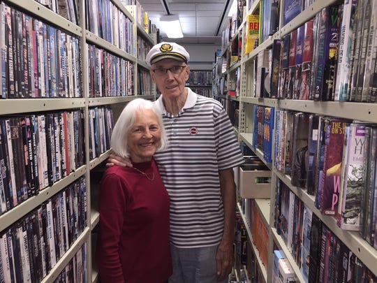 Bob and Beverlee Hyatt among the 55,000 videos they have in their inventory at Hyatt's Classic Video in East Rochester.