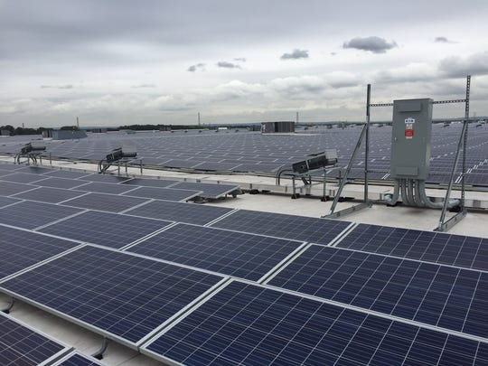 The 30-acre solar panel installation on the roof of
