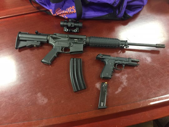 Weapons seized by Plainfield police during the execution
