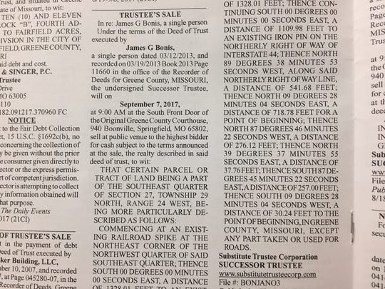 A public notice announcing the planned auction of James Bonis' Bois D'Arc mansion on Sept. 7, as published in The Daily Events on Aug. 24. The auction has since been canceled.