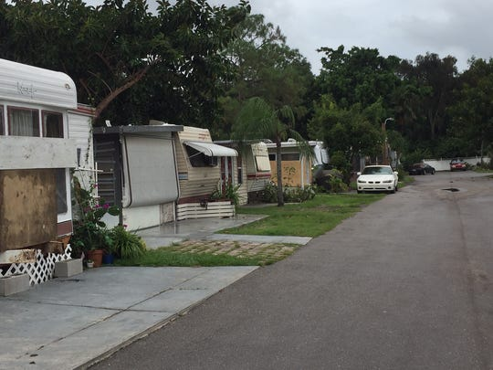 The Covered Wagon Trailer Park in Estero was mostly empty Saturday, but a few residents are planning to ride out Hurricane Irma there.