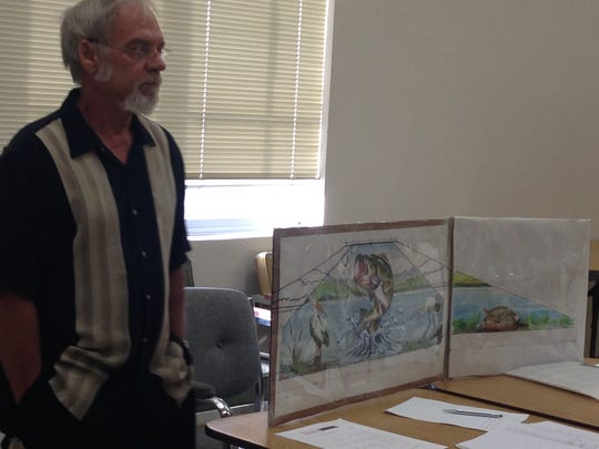 Ralph Stearns discusses his idea for a mural on the Lake Wichita Spillway during a September meeting of the Lake Wichita Revitalization Committee. The city expressed they are willing to allow the mural and could approve a professional services agreement as soon as the Oct. 17, city council meeting. Funding for the project is still needed. Stearns estimates he will need about $13,000 toward supplies. Neither the city nor the LWRC will be furnishing the funds.