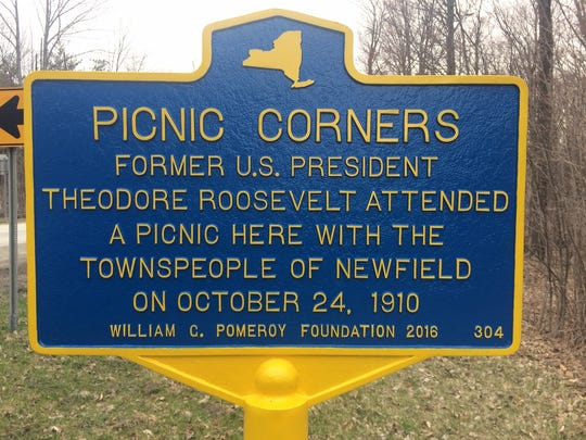 Former President Theodore Roosevelt's 1910 visit to Newfield is commemorated with a historical marker.