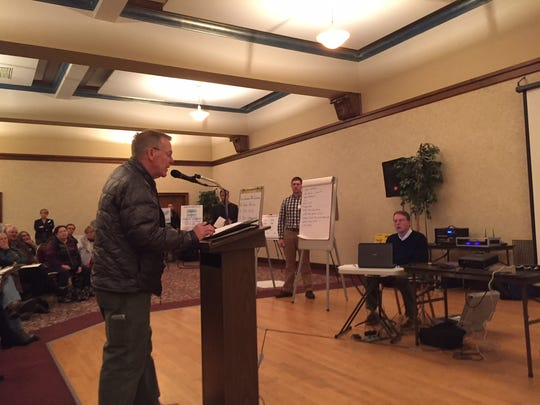Great Falls Mayor Bob Kelly testifies on the Black Butte Copper project last Monday in Great Falls.
