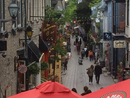 View from the top: Shoppers are seen in Quebec City's Basse-Ville, Lower Town, in Old Quebec.