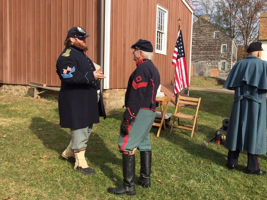 """Soldiers from the 7th NJ Regiment at """"Winter on the Home Front: A Civil War Christmas"""" at Historic Speedwell in Morristown."""