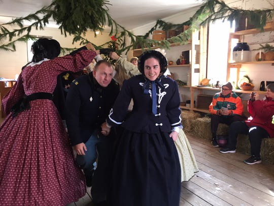 """Dancers at the Officers Ball Solders at """"Winter on the Home Front: A Civil War Christmas"""" at Historic Speedwell in Morristown."""