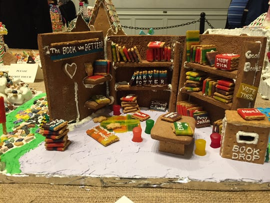 A library setting on display at the 2017 Gingerbread