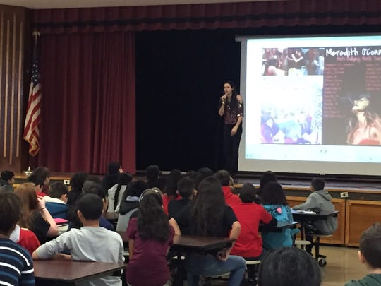 Singer/songwirter Meredith O'Connor visited Avenel Middle School on Friday.